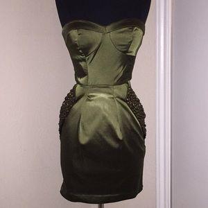 Stunning Olive Satin Dress w/ embellished pockets